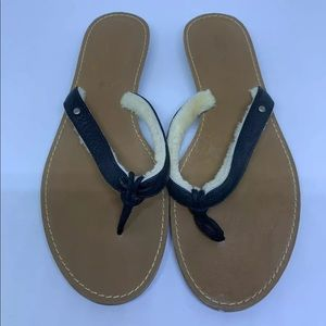 Ugg leather sheep lined flip flops 8